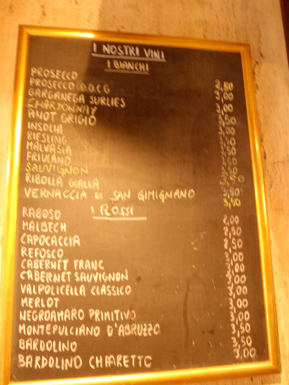 wine list w/ prices