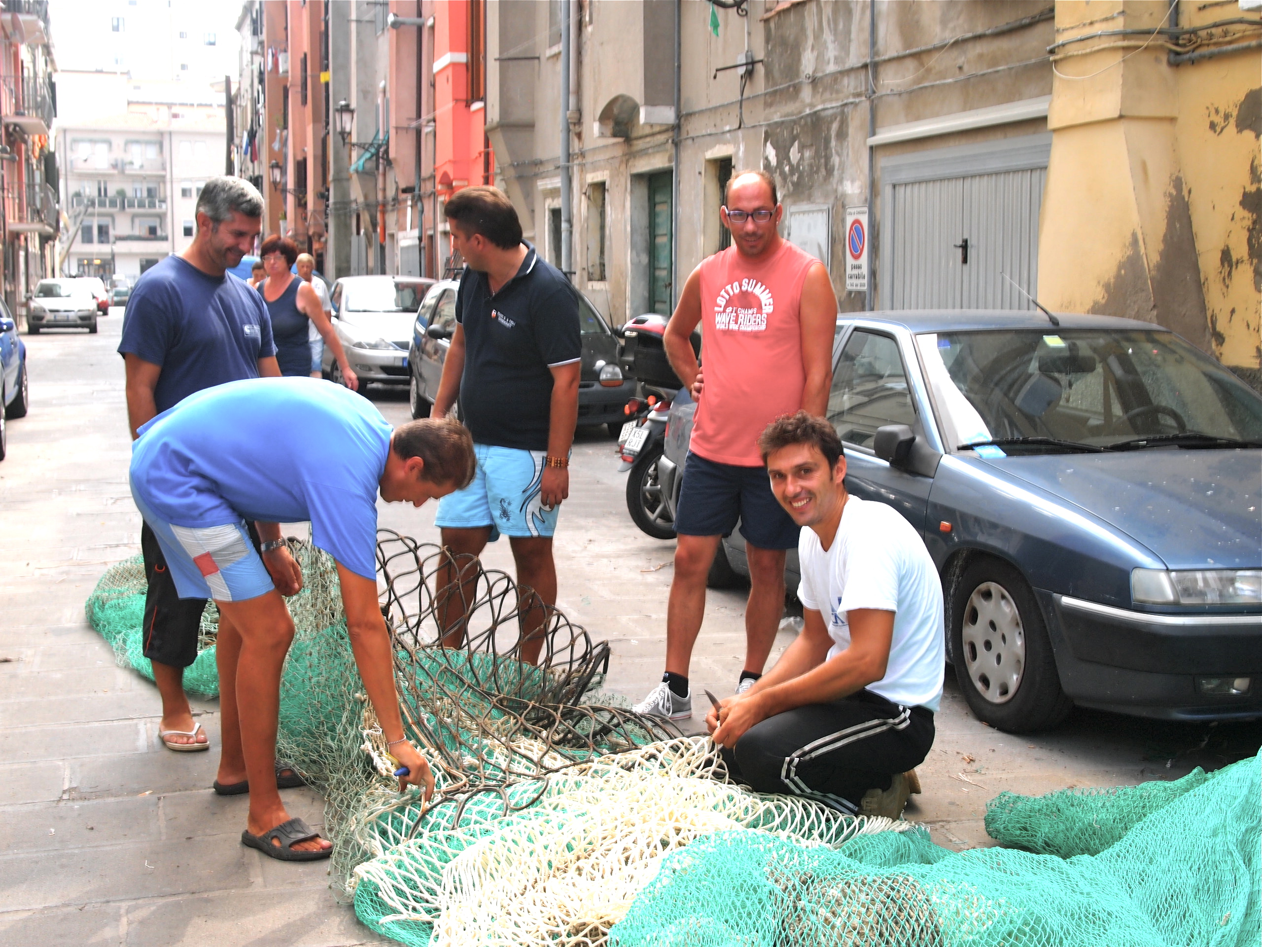 Fishermen checking fishing net