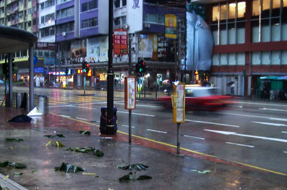 typical street scene during typhoon number 8
