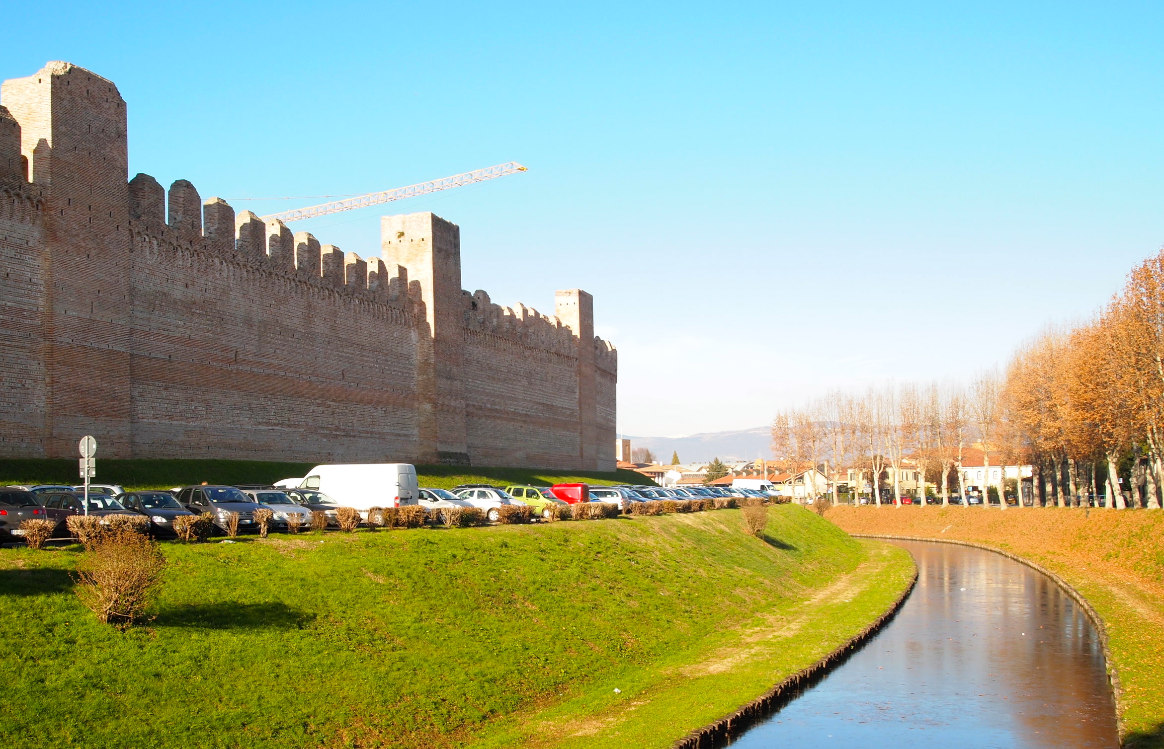 city wall of Cittadella and its moat