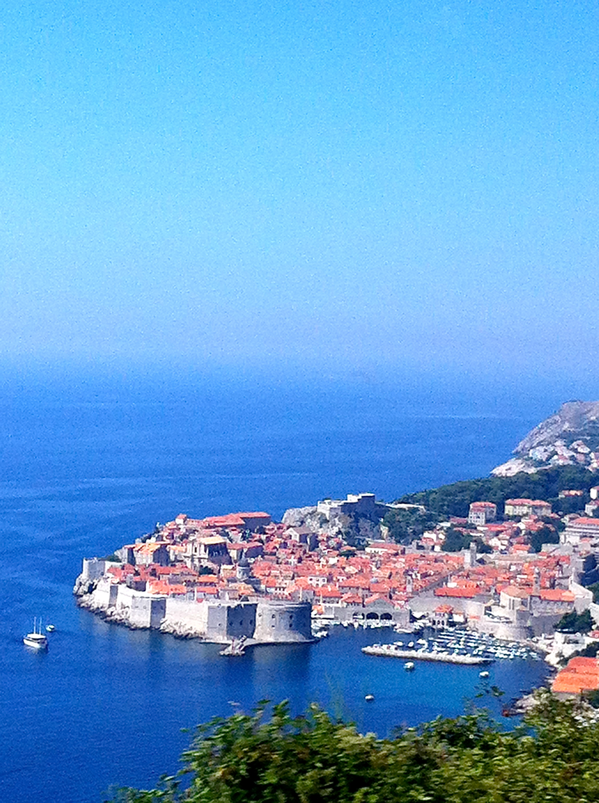 view of the old city of Dubrovnik from the bus