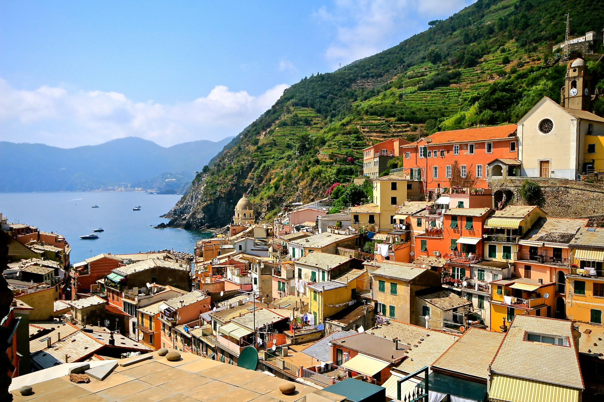 walking down and into the town of Vernazza