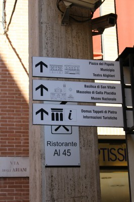 Signs for different tourist attractions and Tourist Information Centre at the right hand side in the beginning of the Viale Diaz